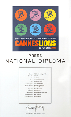 > Cannes National Diploma, for sujet Radar